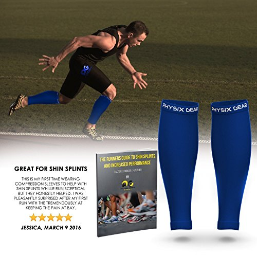 Calf Compression Sleeve for Men & Women, Best Footless Socks for Runners Calves & Leg Cramps, Shin Splints Circulation Remedy, Support Stockings, Running Gear Basketball Lycra tights, Free Ebook