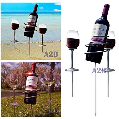 Picknick Weinflaschen Halter Anteil Set (3 teilig) - hält Wein & Gläser im Boden, verhindert aus versc BREMSEN
