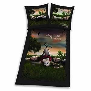 Herding 486670050 Vampire Diaries Parure de lit en microfibre Taie d'oreiller 80 x 80 cm + housse de couette 135 x 200 cm