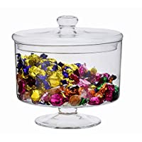 SOLAVIA Clear Glass, Hand Made Glass Apothecary Jar 24 x 24cm | Biscotti Storage Jar