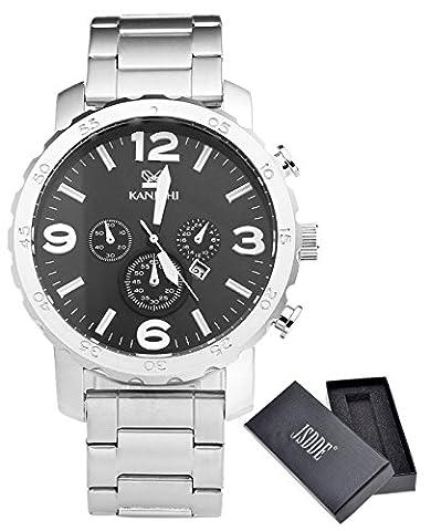 JSDDE Herren-Armbanduhr XL Uhren Herren Edelstahl-Band Kalenderuhr Traveler unecht Chronograph Analog Quarzuhr,Silber/Schwarz