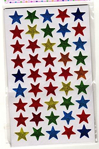 10 hojas Forma Estrella A pegatinas Glittered 450