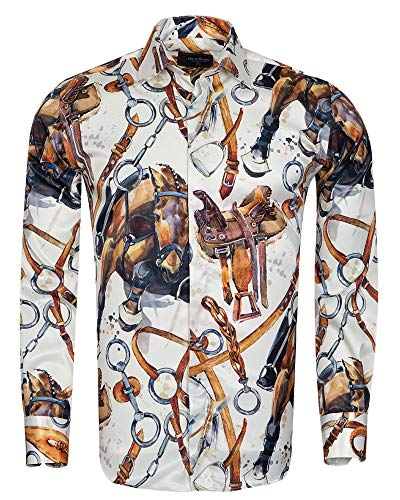 951b880882 Oscar Banks Belts Printed Long Sleeved Satin Shirt SL 6776 Cream