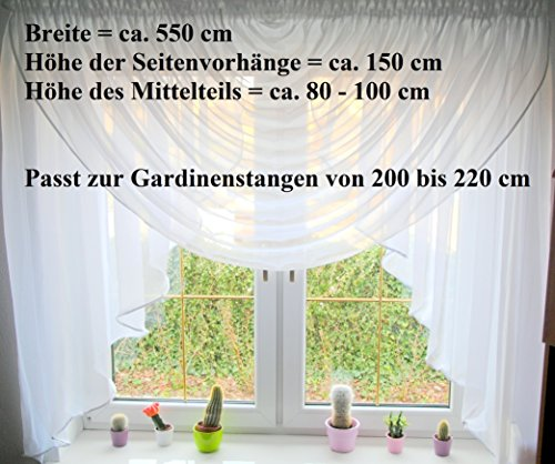 Fertiggardine aus Voile NEU Top Design SET Schöne Gardine HG-1 Modern (Fensterbreite 200 - 220 cm)