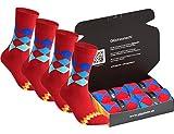 gigando | karo Baumwoll-Socken | bunte Strümpfe für Damen und Herren mit farbenfrohen, zeitlosen Karomustern | Hand gekettelt | extra feines Maschenbild | 4 Paar | rot | 39-42 |