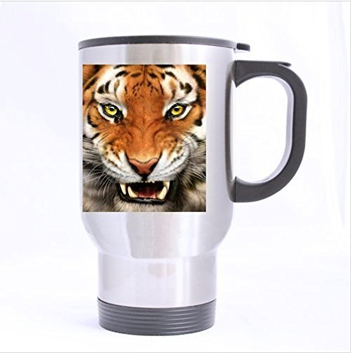 unique design king of animal classic tiger images stainless steel Custom Travel Mug(Tasses à café) (sliver)(14 ounce)