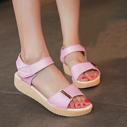 Fulltime®Femmes Summer sweet perles sandales Accueil Sandales Chaussures de plage Rose