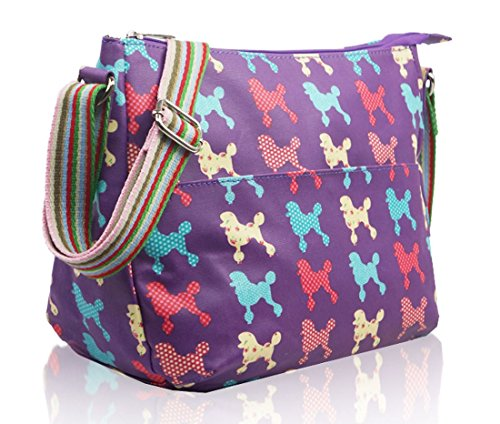 Kukubird vari Poodle farfalla fiori stelle polkadots pattern & Rainbow Strap Sling crossbody Messenger scuola palestra Bag Purple