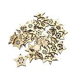 SUPVOX 50 Stücke Holzstern Weihnachtsbaum Anhänger Holzscheiben DIY Christbaumanhänger Christbaumschmuck Baumschmuck Holz Streudeko Weihnachtsdeko zum Aufhängen (Weiß)