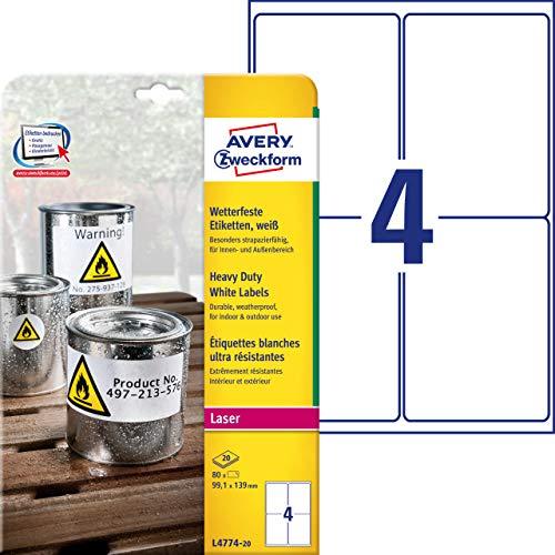 Avery Zweckform, L4774-20, 20 fogli, Etichette poliestere 99, 1 x 139 mm