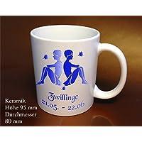 Tazza di caffè segno zodiacale gemelli blu