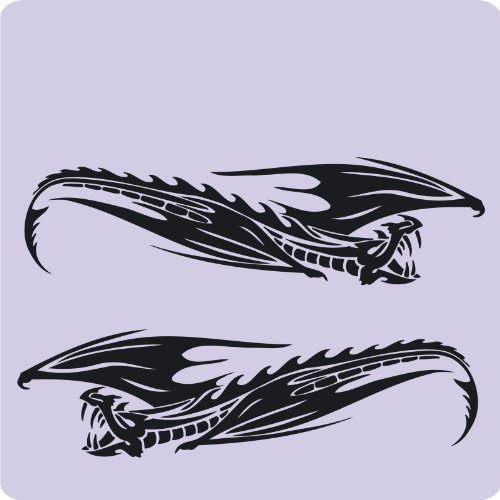 Kleb-drauf - 2 Drachen/Silber - glänzend - Aufkleber zur Dekoration von Autos, Motorrädern und allen anderen glatten Oberflächen im Außenbereich; aus 19 Farben wählbar; in matt oder glänzend