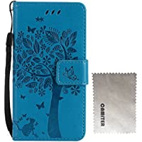 Camiter azul Diseño del gato del árbol Multi-Functional Wallet Stand Case para LG G4c /LG G4 Mini /H525N - Funda con Portfolio más Soporte Integrado y Tapa magnética + Paño de limpieza gratuito