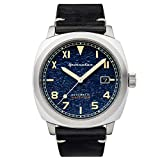 SPINNAKER Men's Hull California 42mm Black Leather Band Steel Case Automatic Blue Dial Watch SP-5071-02