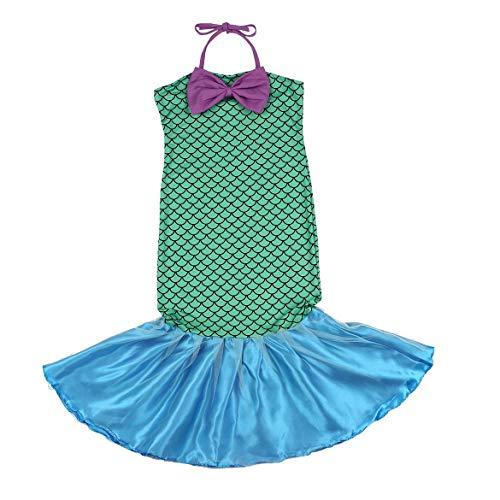 (JohnJohnsen Kleine Meerjungfrau Schwanz Prinzessin Fantastische grüne Kleider mit Bogen für Halloween Weihnachten Kostüm für Mädchen (grün))