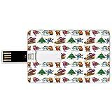 USB-Sticks 64GB Kreditkartenform Winter Memory Stick-Bankkartenstil Kinder in der Winterkleidung,die Schneemann-Rodeln und Weihnachtsbaum-glückliche Zeiten dekorativ errichtet Wasserdichte stift daume