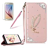 Girlyard For Samsung Galaxy S7 Wallet Stand Leather Case Cover Shiny Glitter Diamond Rhinestone Magnetic Closure Flip Case Cover with Wrist Strap and Card Holder Black Rose Gold Angel Girl