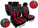 POK-TER-TUNING Autositzbezüge Passend für i10 I .Sitzbezüge Set Kunstleder mit Alcantra. Design GT. in Diesem Angebot Rot.