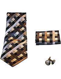 Coffret cravate, pochette costume et boutons de manchette en soie, motif géométrique noir, marron, gris