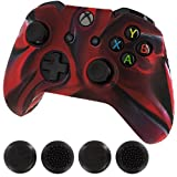 #9: Silicone Skin Protective Cover For Xbox One Controller [Camouflage Red + Black Caps]