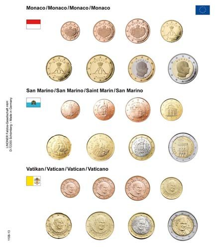 Preisvergleich Produktbild Lindner 1108-13 Vordruckblatt EURO-Kursmünzen-Sätze: Monaco/San Marino/Vatikan