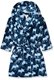 Hatley Jungen Bademantel Fuzzy Fleece Robe, Blau (Moose Shadows 400), Medium