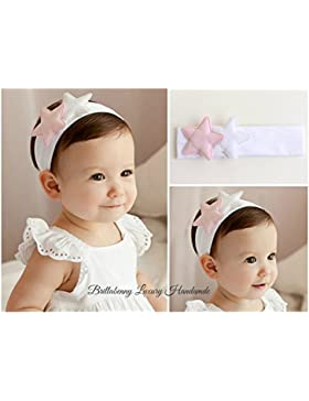 FASCIA BABY PER CAPELLI BIANCO WHITE CON STELLE STAR per battesimo,compimese,compleanno,wedding,matrimoni,feste...