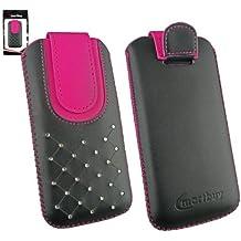 Emartbuy® Negro / Hot Rosa Joya Tachonado Premium Cuero PU Funda Carcasa Case Tipo Bolsa Cover Holder ( Size 3XL ) con Mecanismo de Pestaña para Estirar adecuada para Bogo LIfestyle 4SL-QC Smartphone 4 Inch