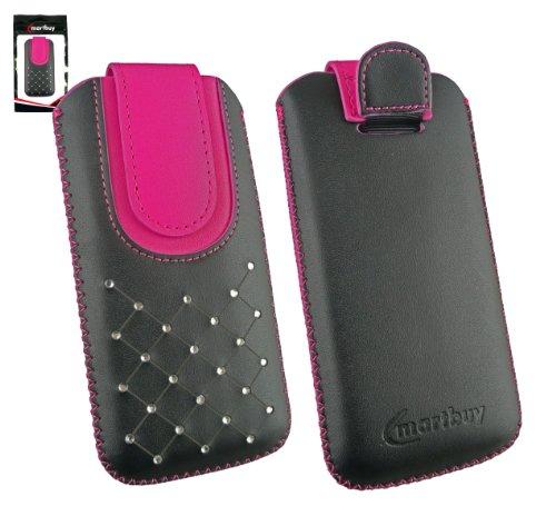 Emartbuy® Schwarz / Hot Rosa Edelsteinbesetzt Premium PU Leder Slide in Hülle Case Cover Sleeve Cover Holder ( Größe 4XL ) Mit Ausziehhilfe Geeignet für Oppo N1 Mini