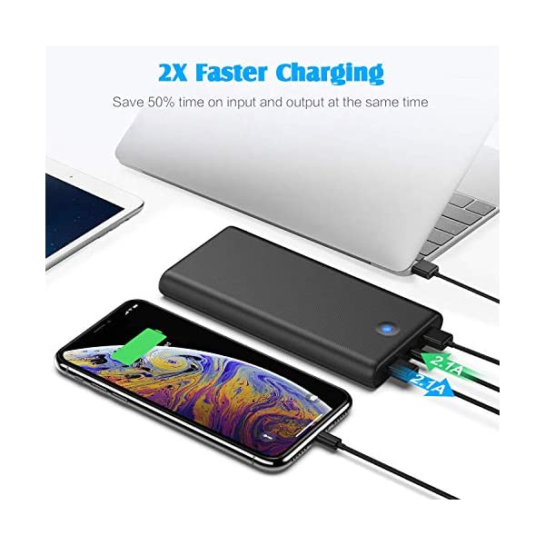 iPosible Power Bank,【Pulsanti Che Cambiano Colore-25800mAh】 Caricabatterie Portatile Batteria Esterna 2 Porte USB Uscita… 4 spesavip
