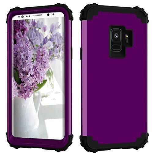 Samsung Galaxy S9Fall, Daker Drei Layer stoßfest Hybrid High Impact Hard Kunststoff + Weich Silikon Gummi Armor Full Body Schutz Best Fällen für Galaxy S92018Release, Violett/Schwarz (High Impact Hybrid-ipod 5 Fällen)