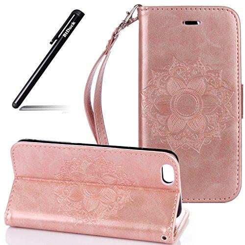 Flip Cover per iPhone 6S 4.7,Custodia per iPhone 6 4.7 Pelle Fiori,BtDuck Ultra Sottile PU Pelle Retro modello di Fiori Mandala Shell protettivi Bumper Wallet Caso Custodia in Pelle per iPhone 6/6S 4. iPhone 6S/6 4.7 -Oro rosa