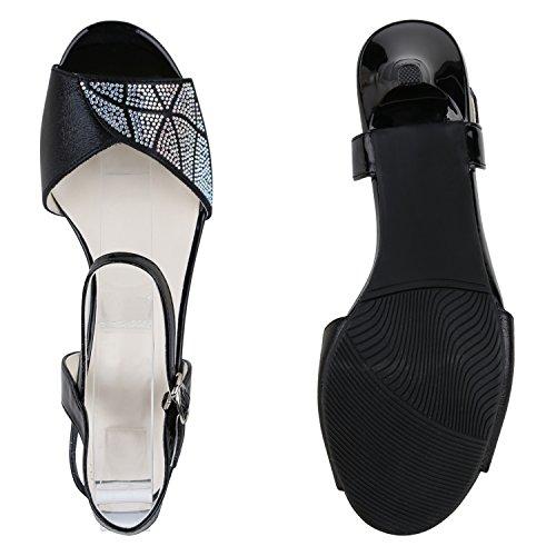 Party Damen Sandaletten | Glitzer High Heels | Plateau Sandaletten Strass Nieten | Damenschuhe Snake Lack | Stilettos Schnallen Schuhe Schwarz Silber