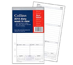 Collins 172mm x 96mm 2014 Week to View Personal Organiser Refill