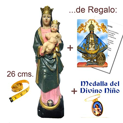 Figura Virgen de la Almudena 26 cms. en Resina, Pintada a Mano + Estampa + Medalla