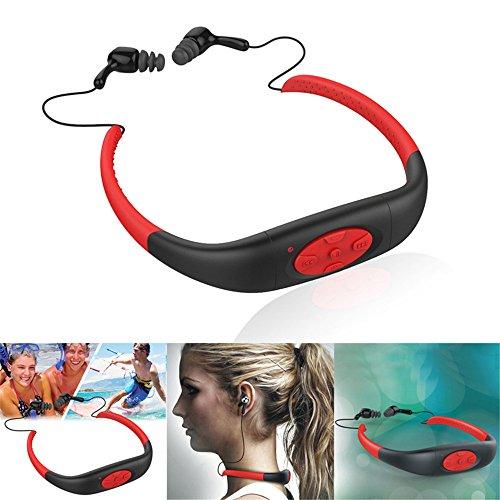 Miya System Ltd Musik-Player-Headset,8GB Sport wasserdicht IPX8 MP3-Musik-Player Stereo-Kopfhörer, FM-Radio Kopfhörer, Unterstützung Windows / MAC OS-System, Lade für zwei Stunden kann acht Stunden spielen(Rot)