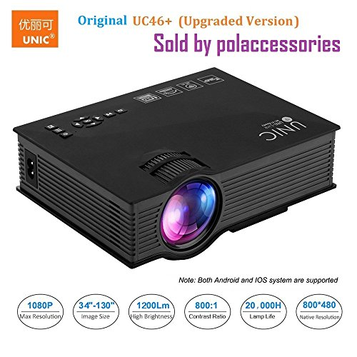 UNIC UC46+ (Upgraded Version ) with USB/HDMI/VGA/WIFI Miracast DLNA Airplay 1200 lm LED Corded Portable Projector (Black)
