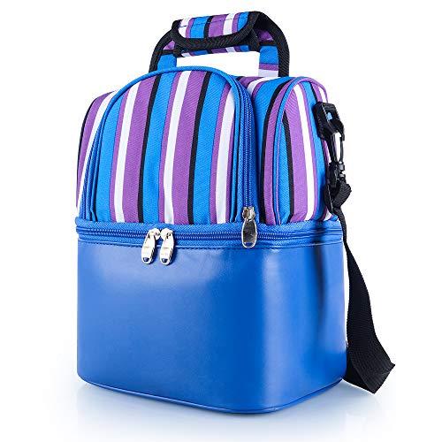 Jelife Kühltasche Lunch Taschen Leicht Picknicktaschen Isoliertasche zur Arbeit Schule Faltbar Wasserdicht Reissverschluss (Blau) (Bento-lunch-box Mit Träger)