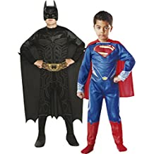 Rubie's - Pack 2 disfraces Batman y Superman, para niños, talla M (154994-M)