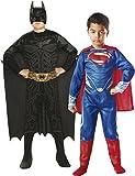 Rubie's - Pack 2 disfraces Batman y Superman, para niños, talla L (154994-L)