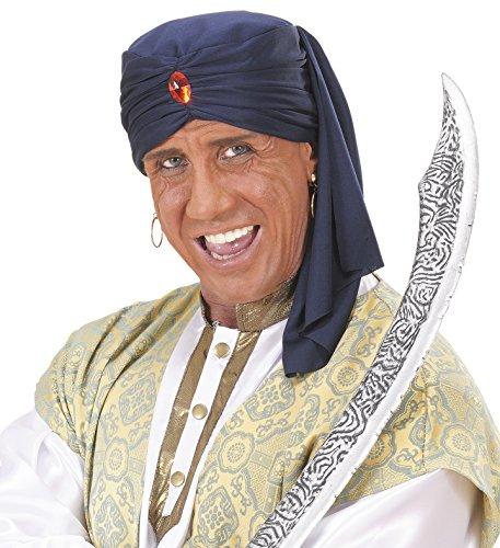 Alibaba Indische Kopfbedeckung blauer Turban Orient Wüstenprinz (Indische Kopfbedeckung Kostüm)