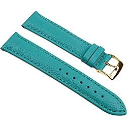 Eulit Fancy Fashion Replacement Band Watch Band bovine Leather Strap turquoise 25485G, width:14mm