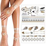 KLIMBIM Metallic Flash Gold Silber Tattoo fŸr Kšrper Finger Arme 2er Set 20~30 Motive - viele Designs hier kaufen