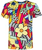 COSAVOROCK T-Shirt Uomo Colorato Flower retrò Costume (M, Colorful)