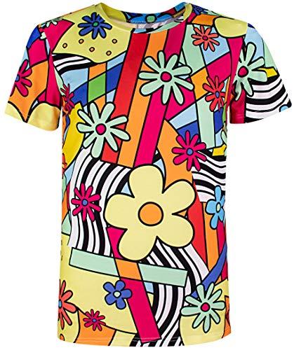 Cosavorock 60er 70er Jahre Retro Flower Kostüm T-Shirts für Herren (2XL, Blumen) (70er Jahre Herren Kostüm)