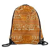 Bikofhd Portable Drawstring Bag Casual Gym Bags Travel Daypack - (Elephant Tour Orange Pattern)