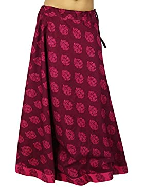 Impreso de algodón mujeres de la ropa desgaste de la playa de la falda del cordón del Hippie de Boho