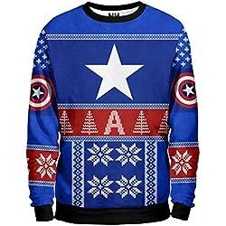 Noorhero - Sudadera Hombre - Capitan America Christmas