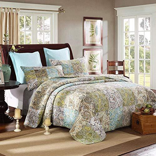 Luxus Gesteppte Tagesdecken Bettwäsche Set 100% Baumwolle Wirft King Size Patchwork Bettueberwurf 3 Stück Decken Mehrzweck-Bettwäsche (1 Bettbezüge 2 Kissenbezüge),230 * 250CM*1+50 * 70CM*2 -