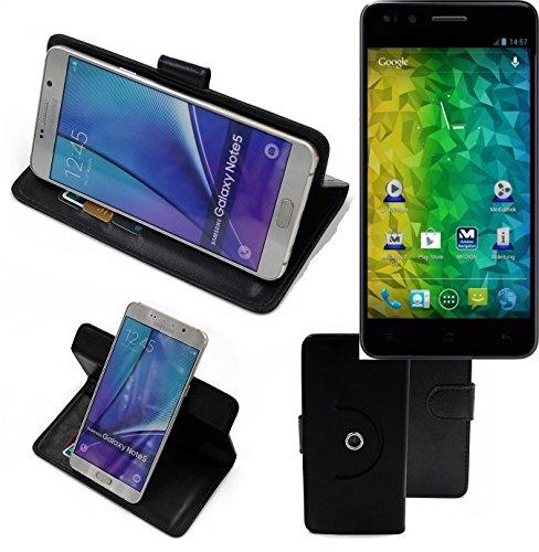 K-S-Trade® Case Schutz Hülle für Medion Life P5004 Handyhülle Flipcase Smartphone Cover Handy Schutz Tasche Bookstyle Walletcase schwarz (1x)
